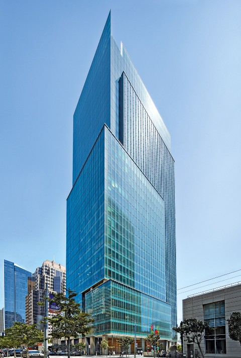 San Francisco office building 555 Mission Street is accented with glas and metal fins.