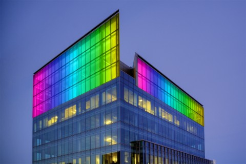 Colorfully lighted crown of San Francisco office building 555 Mission Street.